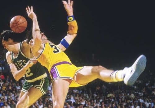 Kevin McHale playing basketball like he's in the WWE