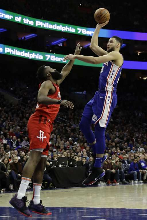 Sixers guard Ben Simmons could be traded for James Harden, playing against each other here