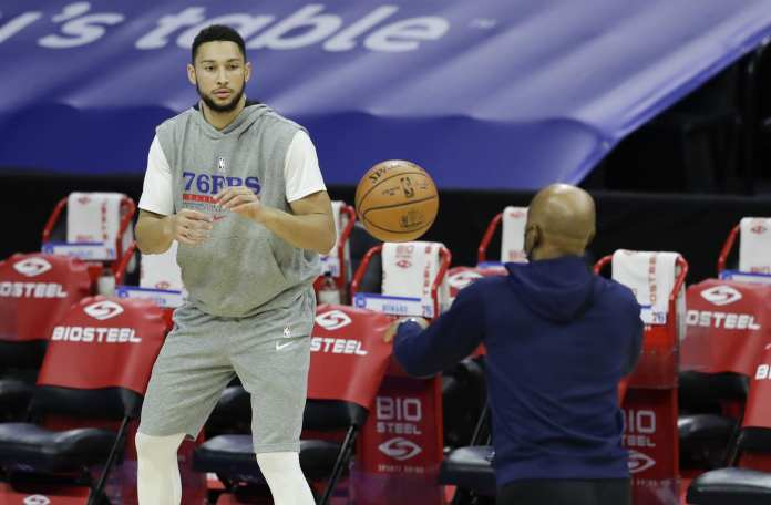 Ben Simmons career stats will improve if he works on his shooting like he is here at Sixers practice.