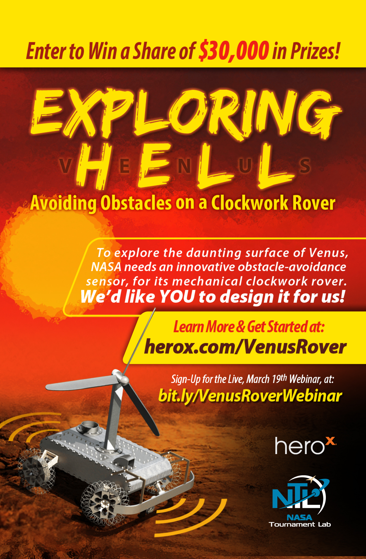 Flyer for Venus robot challenge: Exploring Hell