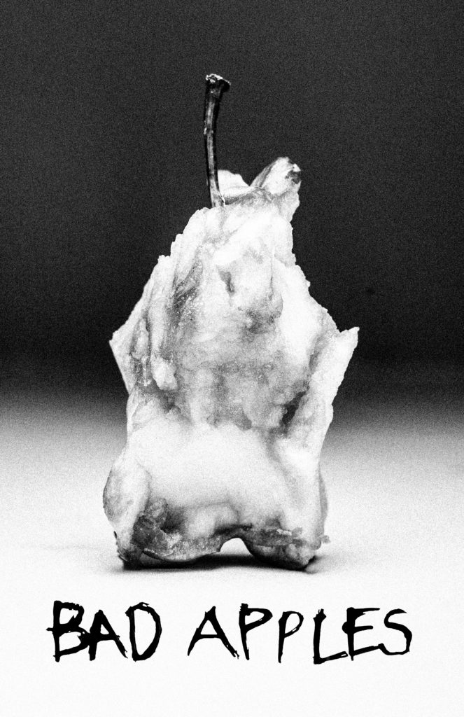 Album cover for Bad Apples band is a black and white photo of an apple core. Photograph by Kara Khan