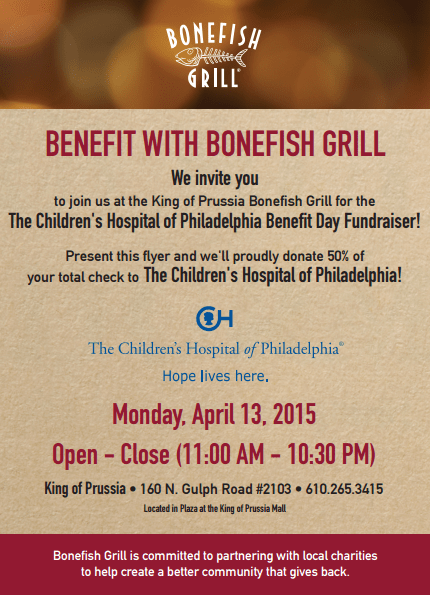Bonefish Grill King of Prussia CHOP Benefit