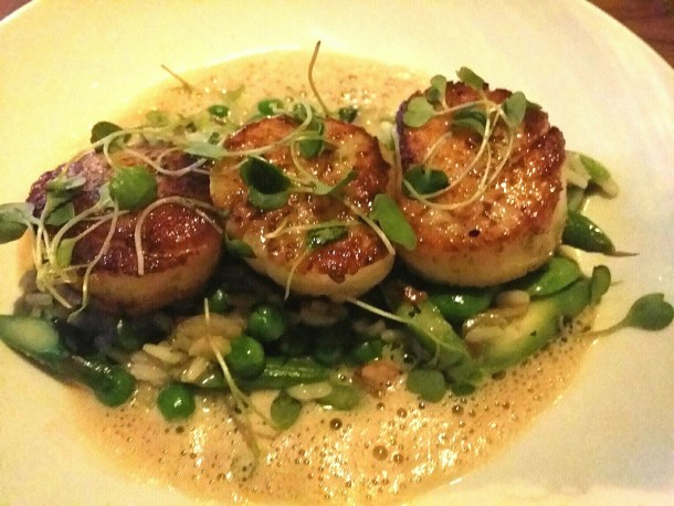 Garces Trading Company Pan Seared Scallops with Spring Vegetable Risotto