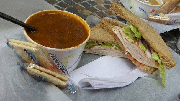 Ventuno Philly Turkey Club Sandwich and Lentil Soup