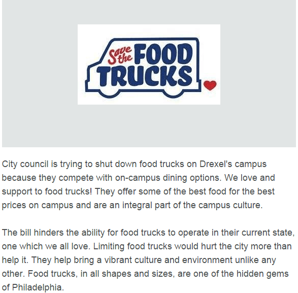 Drexel Food Trucks Petition