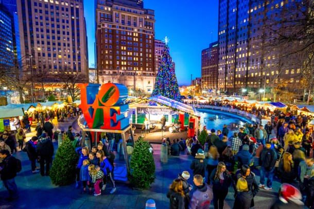 Christmas Village LOVE Park 2014