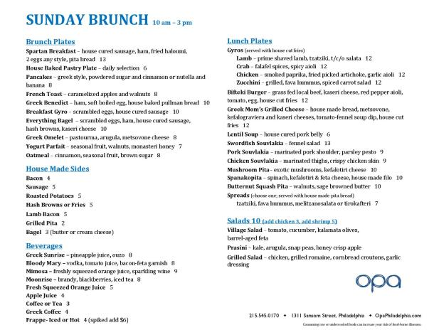 Opa Brunch Menu