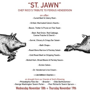 Brick & Mortar's Chef Brian Ricci Presents St. JAWN Dinner