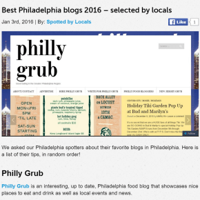 "Spotted By Locals Acknowledge Philly Grub ""Favorite Philadelphia Blog"""