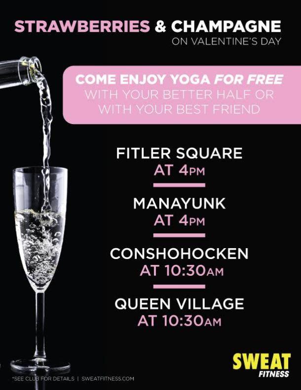 Sweat Fitness Valentine's Day Yoga and Champagne