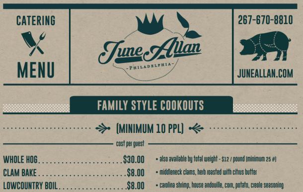 June Allan Catering Menu