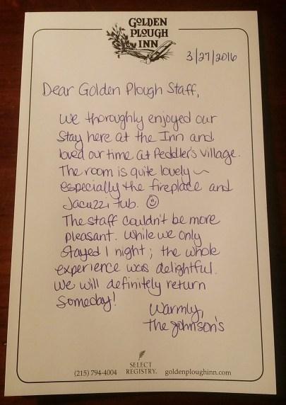 Golden Plough Inn Note