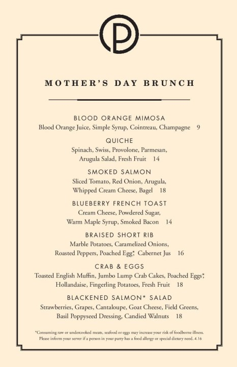 Ocean Prime Mothers Day Brunch Menu