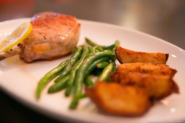 Cotoletta Pork Chop with Roasted Potatoes and Green Beans
