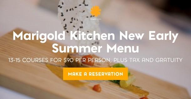 Marigold Kitchen Early Summer Menu