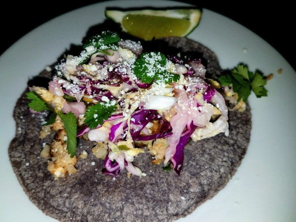 Taco on Blue Corn Tortilla at Foo Kitchen