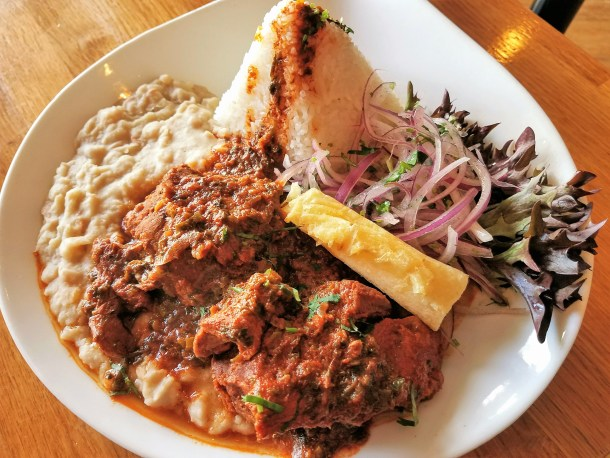Peruvian Style Lamb Stew at Quinoa Peruvian Mexican Restaurant in Doylestown, PA