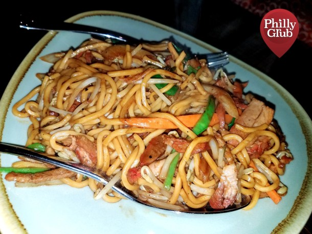 Pork Lo Mein at Mian Restaurant Sugar House Casino