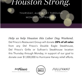 Del Frisco's Restaurant Group Supports Harvey Victims with $1 Million Donation Goal