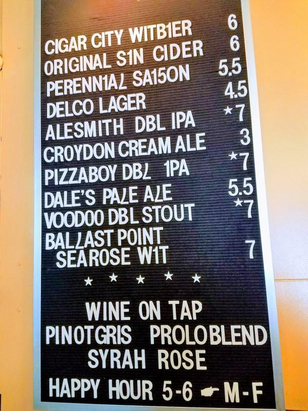 Burg's Hideaway Lounge Beer List