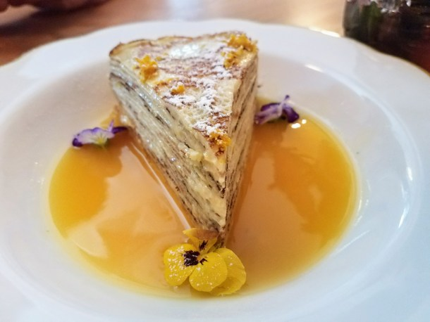 Peach Crepe Cake at Burg's Hideaway Lounge