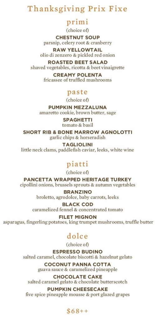 Scarpetta Philadelphia Thanksgiving Prix Fixe Menu