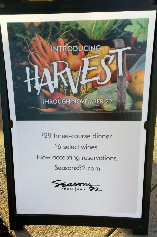 Seasons 52 Cherry Hill Mall Harvest Menu