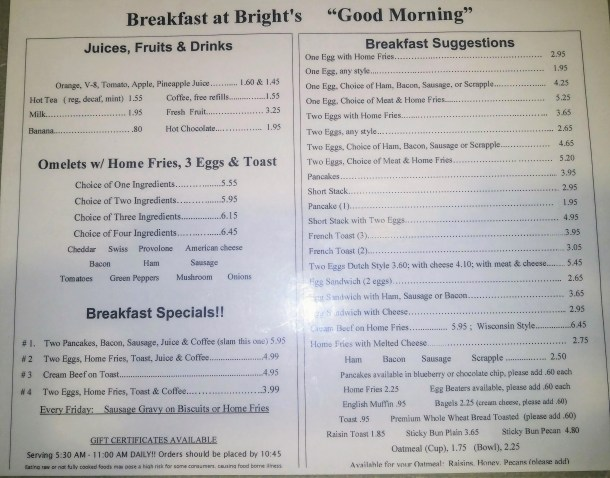 Bright's Restaurant Ephrata PA Breakfast Menu