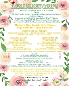 Eatible Delights Mother's Day Catering Menu
