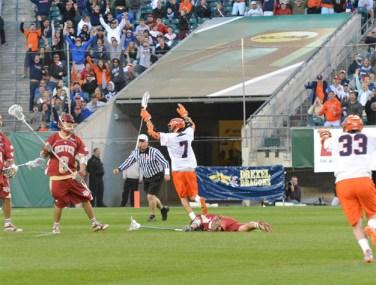 Syracuse's Derek Maltz celebrates his game-winning goal for the Orange in Saturday's 9-8 win (Photo for Phillylacrosse.com)