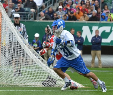 Duke's Jordan Wolf heads to goal for one of his three goals (Photo for Phillylacrosse.com)