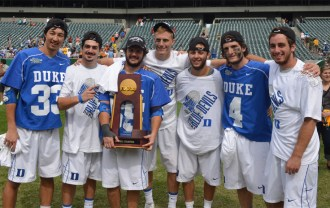 Philly players celebrate Duke's Division I National championship - from left, Jamie Ikeda (Conestoga), Tanner Scot (Conestoga), Billy Conners (Malvern Prep), Henry Lobb (Malvern Prep), Jordan Wolf (Lower Merion), Dan Wigrizer (Haverfiord School) and Brian Dailey (Conestoga) - Photo for Phillylacrosse.com