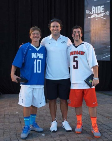 AWARD WINNERS - Grant Ament (left), coach Max Seibald, Charles Kelly