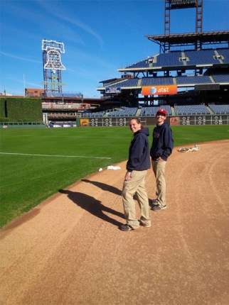 The Phillies groundscrew puts lacrosse lines at CBP for the very first time