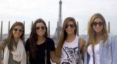 Lehigh players (from left) Emily May, Nicole Isdaner, Megan Paytas, and Carli Sukonik enjoyed their month in Paris (Courtesy of Lehigh Lacrosse)