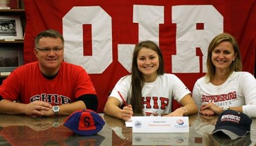 Owen J. Roberts senior Morgan Stone, flanked by parents John Stone and Amy Stone, signs a National Letter of Intent to Division II Shippensburg University during a recent ceremony at the high school - Photo courtesy of PAC-10Sports.com via OJR athletics