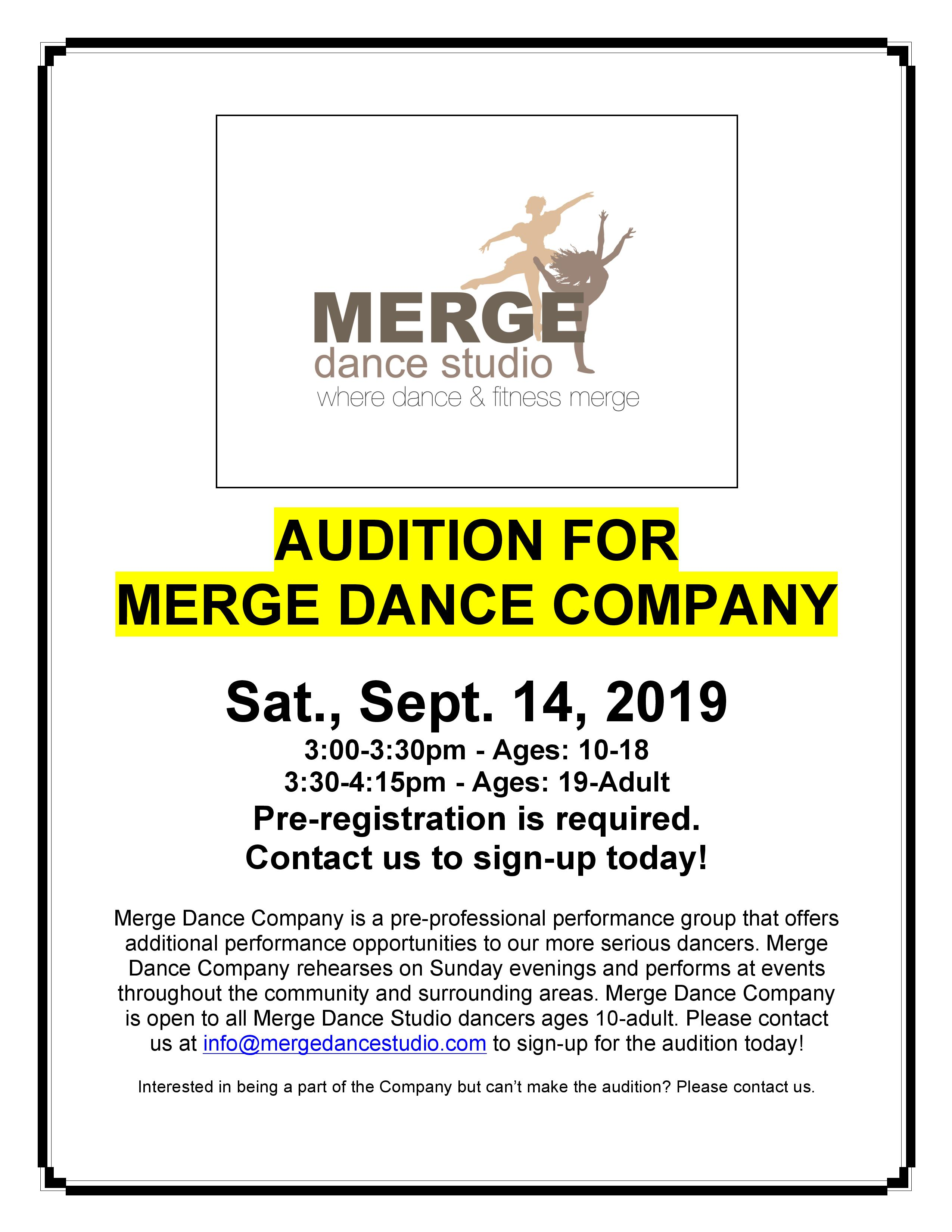 Merge Dance Company Auditions -