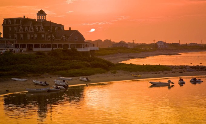 surf hotel at sunset, block island