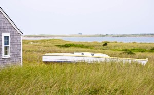 old beached sailboat in grass