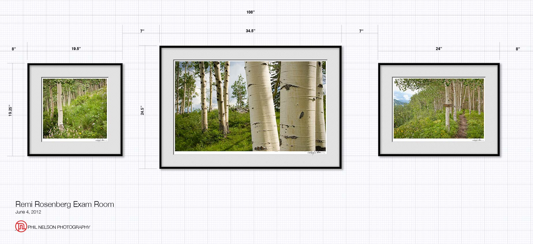 wall elevation drawing of three framed prints