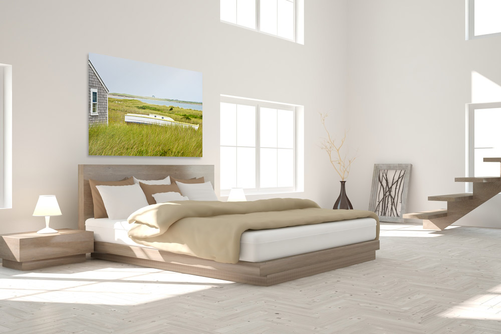 bedroom with large plexi-mount print over bed