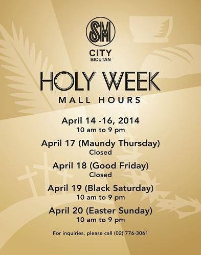 SM Holy Week Schedules