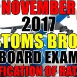 Verification of Ratings: November 2017 Customs Broker Board Exam