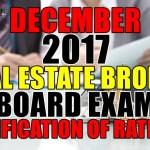 December 2017 Real Estate Broker Verification of Ratings