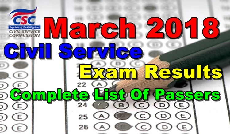 March 2018 Civil Service Exam