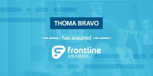 Logos showing Thoma Bravo has bought Frontline Education, from 2017.