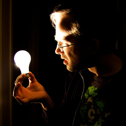 Looks like this guy has figured out how to make a light-bulb with no wires. Perhaps he is working on it with Tesla?