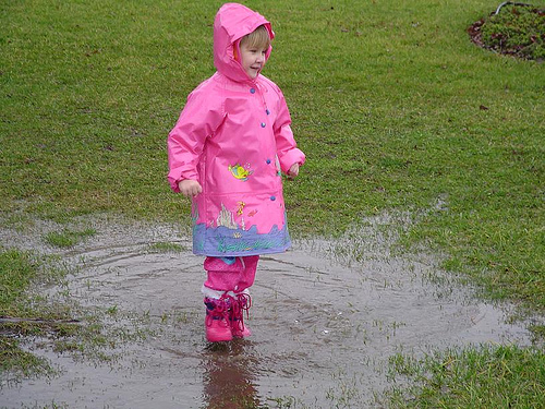 While we may not be able to see her path, she is certainly not afraid of a puddle. How about you?