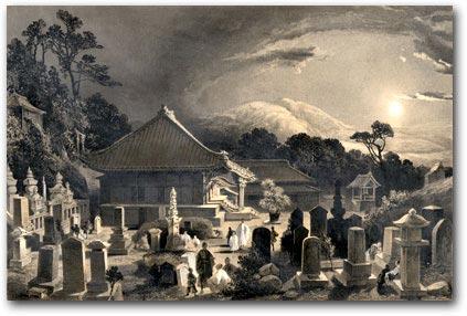 Moonlit graveyard at Ryosenji Temple, Shimoda.