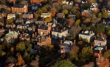 Aerial photograph of houses in the McIntire Historic District of Salem, Massachusetts